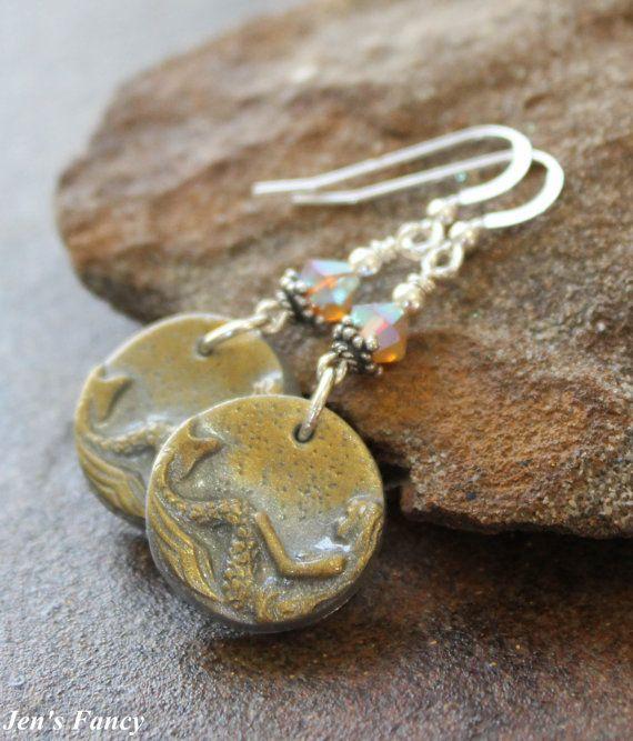 Mermaid Earrings Gold and Silver  Beach & Summer door JensFancy
