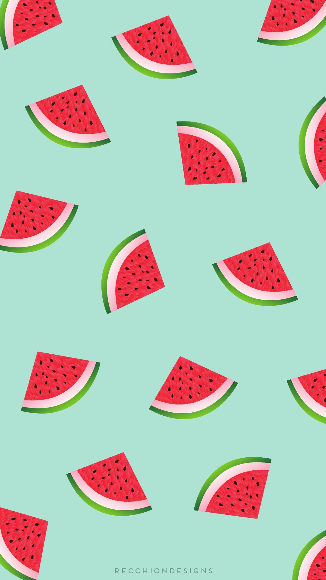 Pattern Pasteques Watermelon Wallpaper Leaves Wallpaper