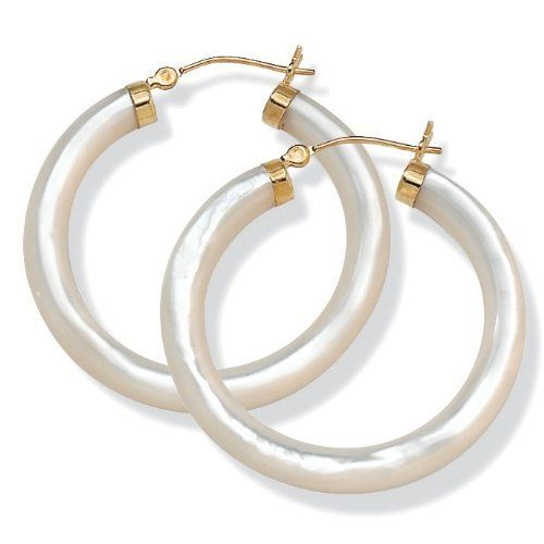 Palmbeach Jewelry Genuine Mother Of Pearl 14k Yellow Gold Hoop Earrings Angelina D Apos Andrea 127 49