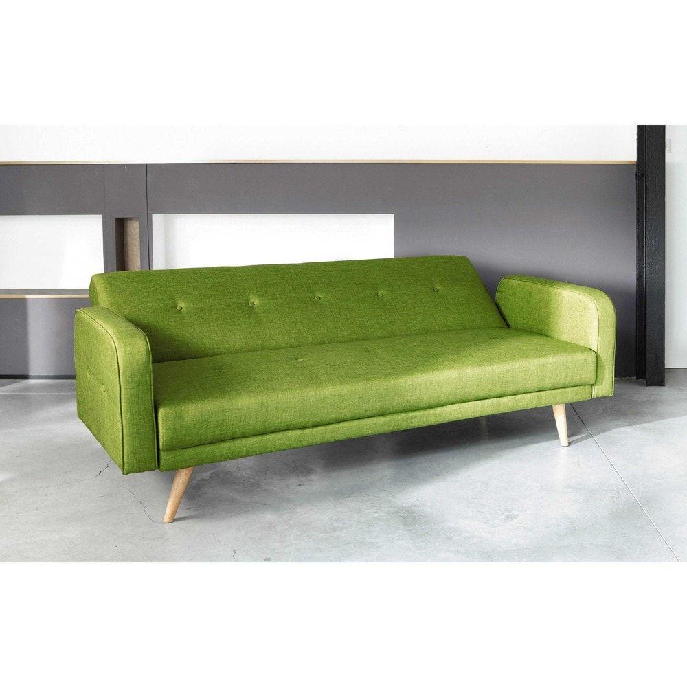 Lime Green 3 Seater Clic Clac Sofa Bed Maisons Du Monde Sofa Sofa Bed Stylish Sofa