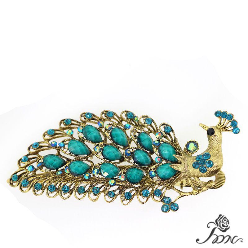 Gorgeous Rhinestone Crystal Teal Gold Peacock Womens  Hair Clip wedding Party #PDN