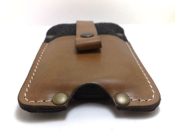 Sleeve case wallet with black felt and genuine leather by TIZART, $29.00