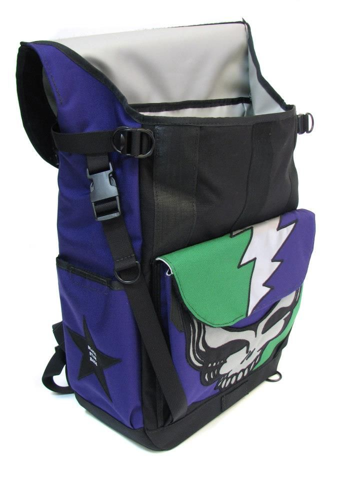 ad37981bde3e An opened view of the one-of-a-kind waterproof flaptop backpack with  multilevel Grateful Dead graphic.