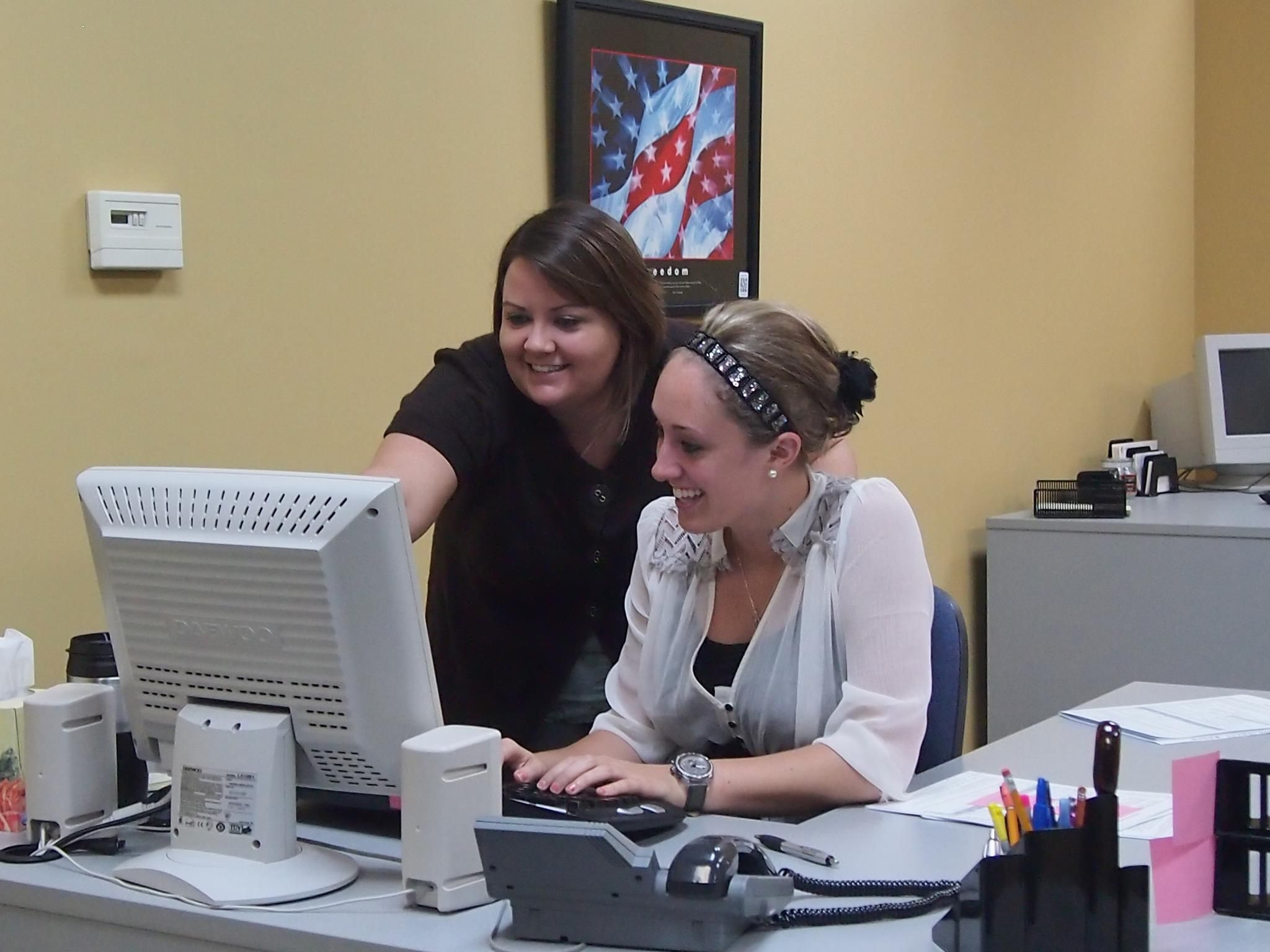 """HR's Office Manager, """"H"""" showing Danielle the ropes"""