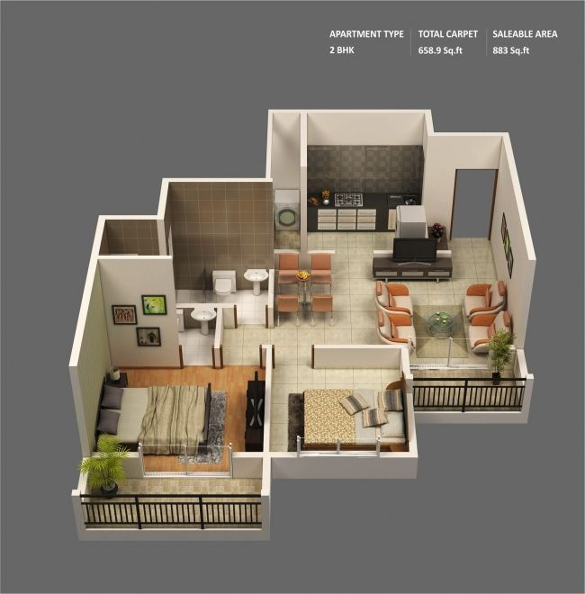 50 Plans 3D du0027appartement avec 2 chambres Smallest house, Shipping - plan maison d gratuit
