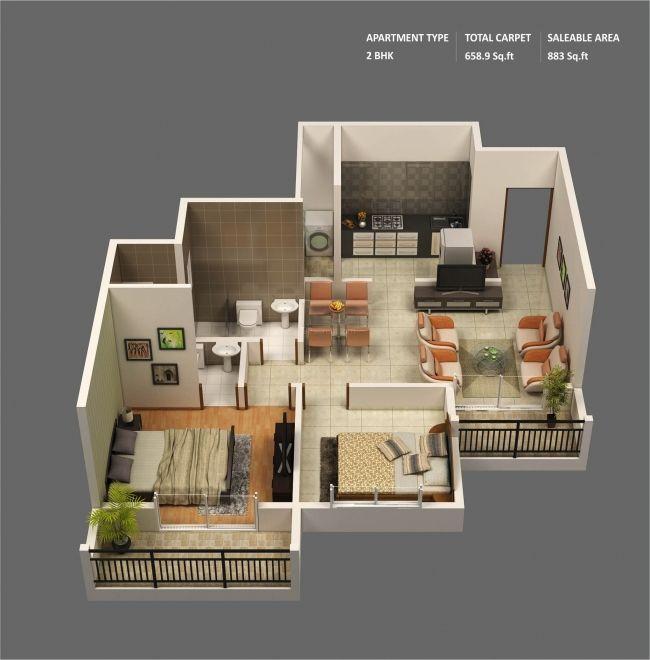 50 plans 3d dappartement avec 2 chambres