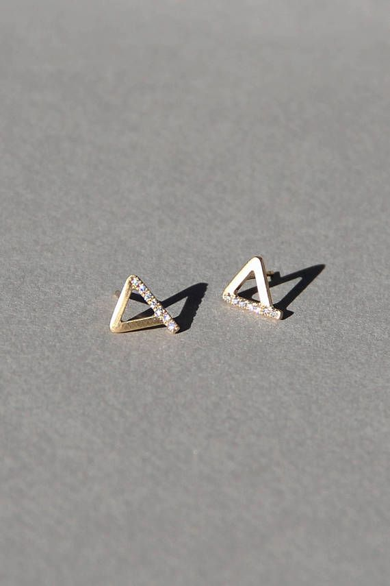 541077512 Amanda single stud, triangle diamond earrings, 14k gold earrings with  diamonds, solid gold diamond s