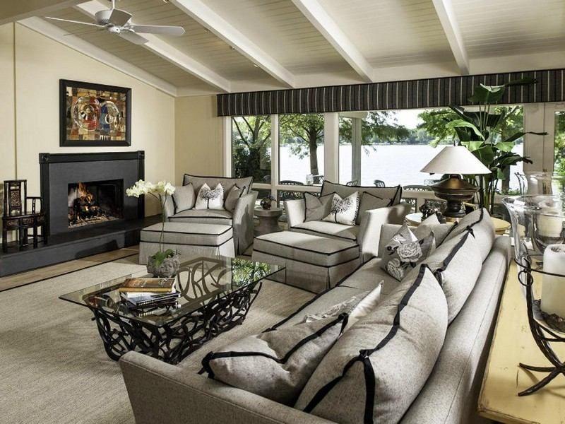 Wohnzimmer im Landhausstil - dunkle und helle Farben kombinieren