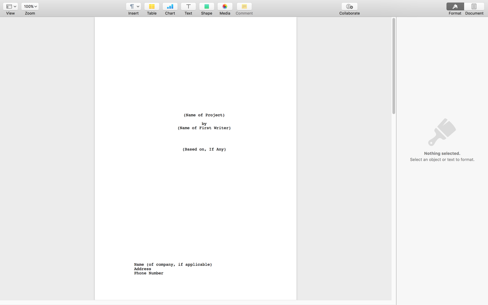 A Free Apple Pages Template Warner Brothers Format To Help You Write In Screenplay Form