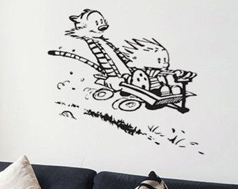 Calvin and Hobbes Reading the Newspaper by BlackCatDesignsCo  sc 1 st  Pinterest & Calvin and Hobbes - Reading the Newspaper - Vinyl Wall Decal