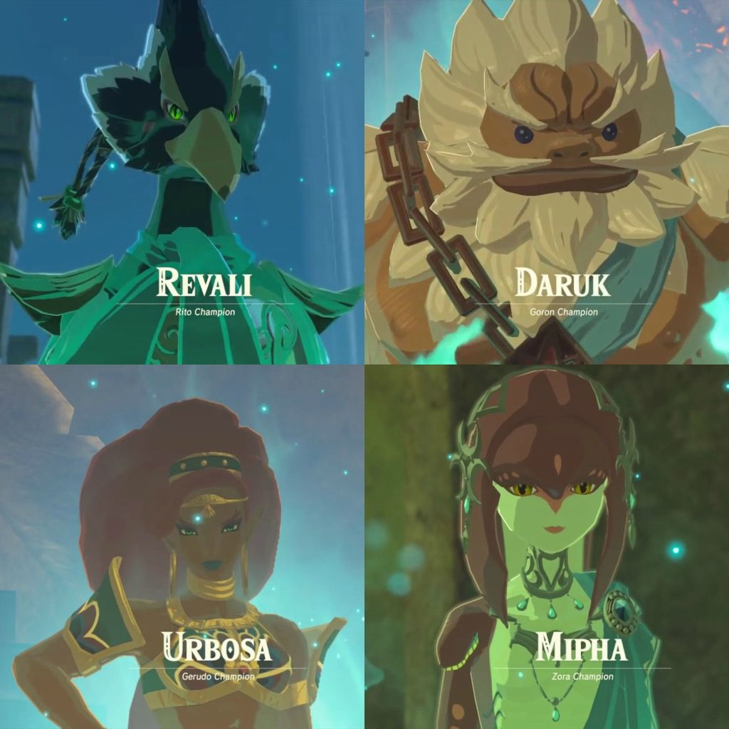 Revali Daruk Urbosa Mipha The 4 Champions Legend Of Zelda