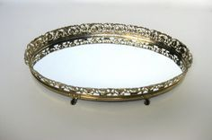 Dainty Gold Filigree Vanity Table Tray
