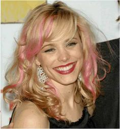 Light Pink Streaks In Front Sides Blonde Hair With Pink Highlights Pink Blonde Hair Cool Hairstyles