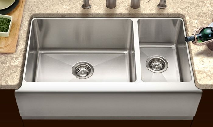 Houzer 70/30 10 Inch Deep Stainless Steel Farmhouse Sink