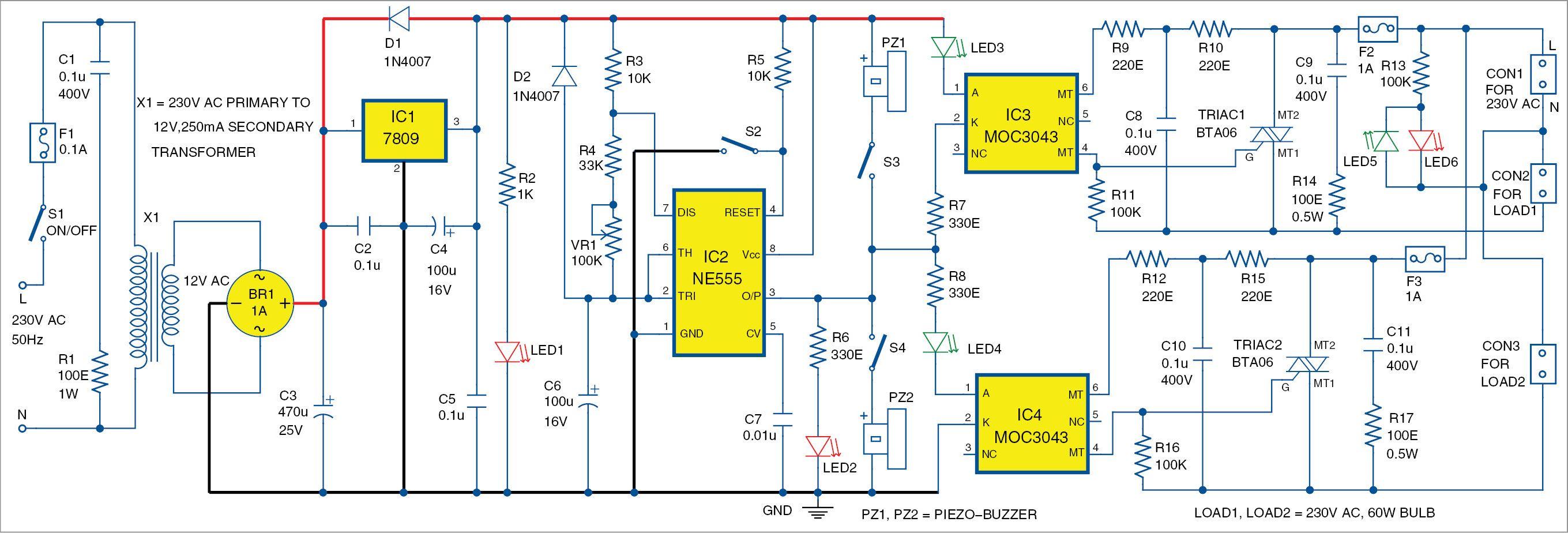 Ac Lamp Blinker Using Timer 555