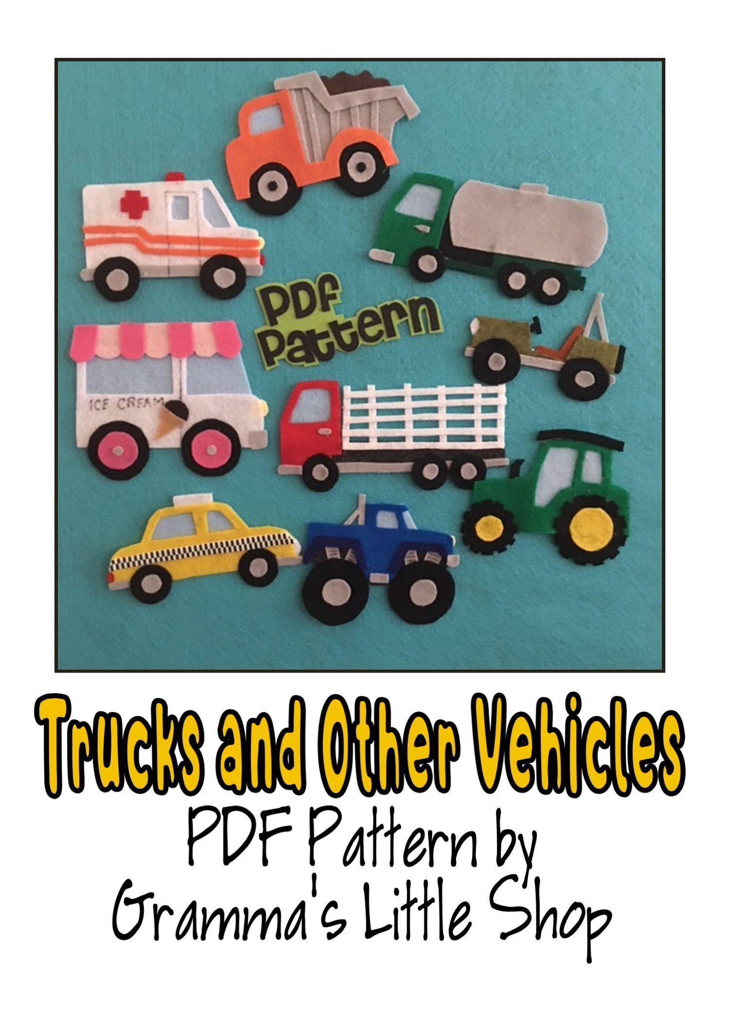 Truck And Other Vehicles Set 1 Felt Patterns Felt Board