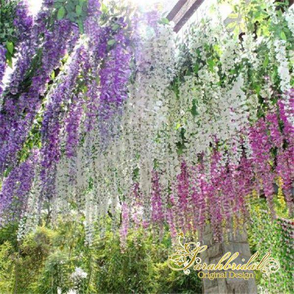 Details about 12pcs Artificial Silk Wisteria Hanging Flower Garland Vine Wedding Decor 7 Color