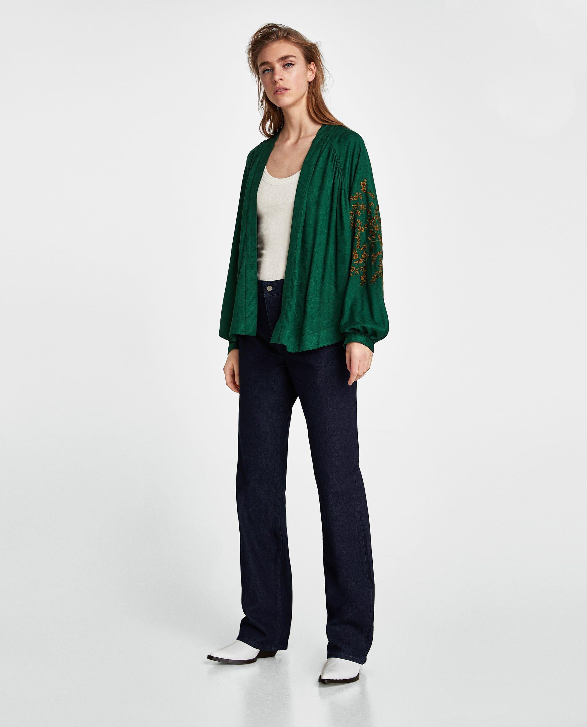 KIMONO JACQUARD BORDADO | Zara | Zara outfit, Kimono ...