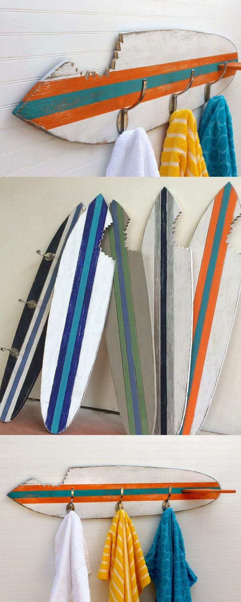 Beachy Towel Hooks Shark Bite Surfboard Wood Custom Home Decor Bathroom Layout Plans Bathroom Design Small Boys Room Decor