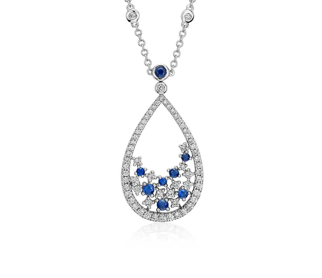 Studio Something Blue Sapphire Diamond Floral Teardrop Necklace In 18k White Gold Pendant Necklace Diamond Teardrop Necklace