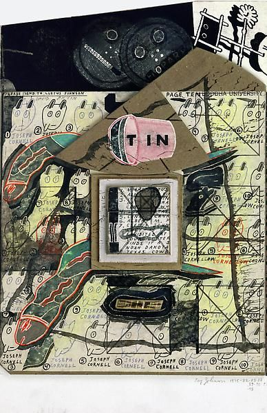 Ray Johnson -  Untitled (T IN with 30 Joseph Cornell Bunnies)  1975-82-85-88-89-90-92-93