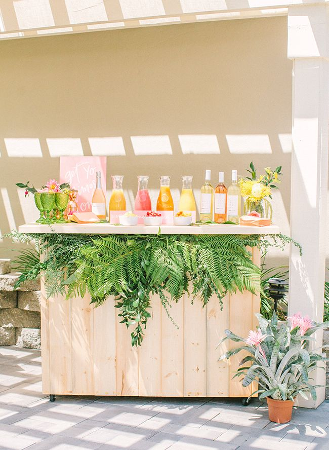 Matrimonio Tema Tropical : Pink yellow tropical bridal shower brunch th celebration