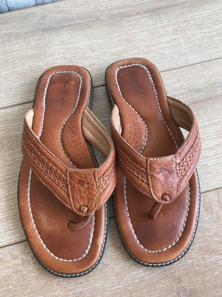 c2af5985c Tommy Bahama Flip Flop Thong Sandals Sz 10 D Light Brown Leather Anchors  Away  TommyBahama  FlipFlops