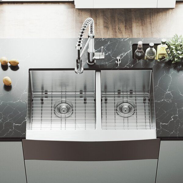 Bingham 33 L X 22 W Double Basin Farmhouse Kitchen Sink With