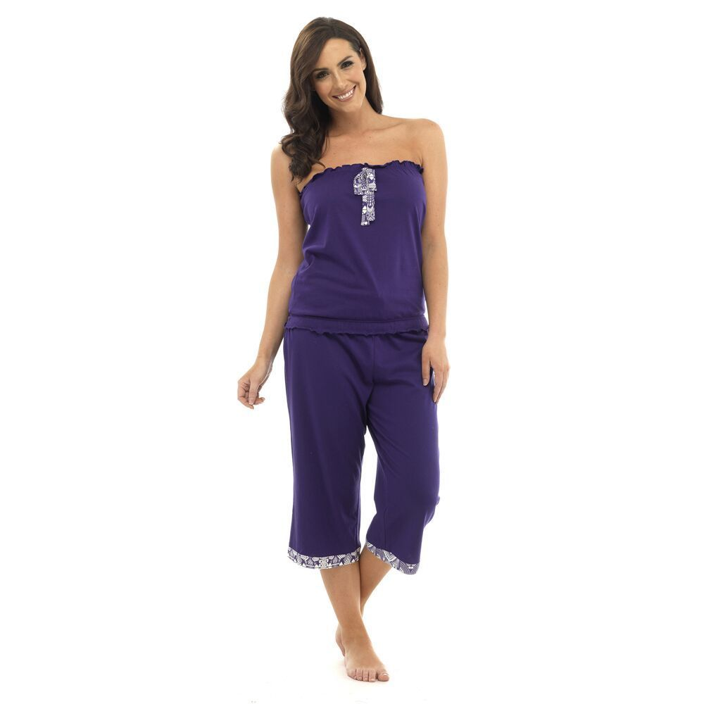 5d377d98d3 If you re looking for something different   cosy then you ll love this bandeau  top   crop trim pants pyjama set! This pretty two piece pyjama set is the  ...