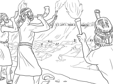 Gideon Soldiers With Trumpets And Torches Coloring Page Free Printable Coloring Pages Sunday School Coloring Pages Bible Coloring Pages Christian Coloring