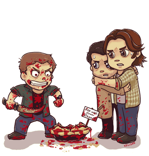 Hahaha to allnof this picture.... first: Dean's face and his intensity towards pie..... second: the concern and outright fear on Sam and Cas's faces.........