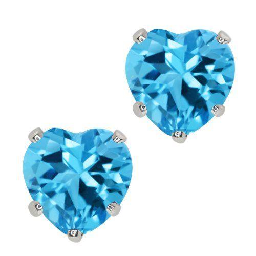 2.00 Ct Heart Shape Swiss Blue Topaz 925 Sterling Silver Earrings
