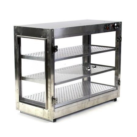 commercial 30 x 15 x 24 countertop food pizza pastry warmer wide display