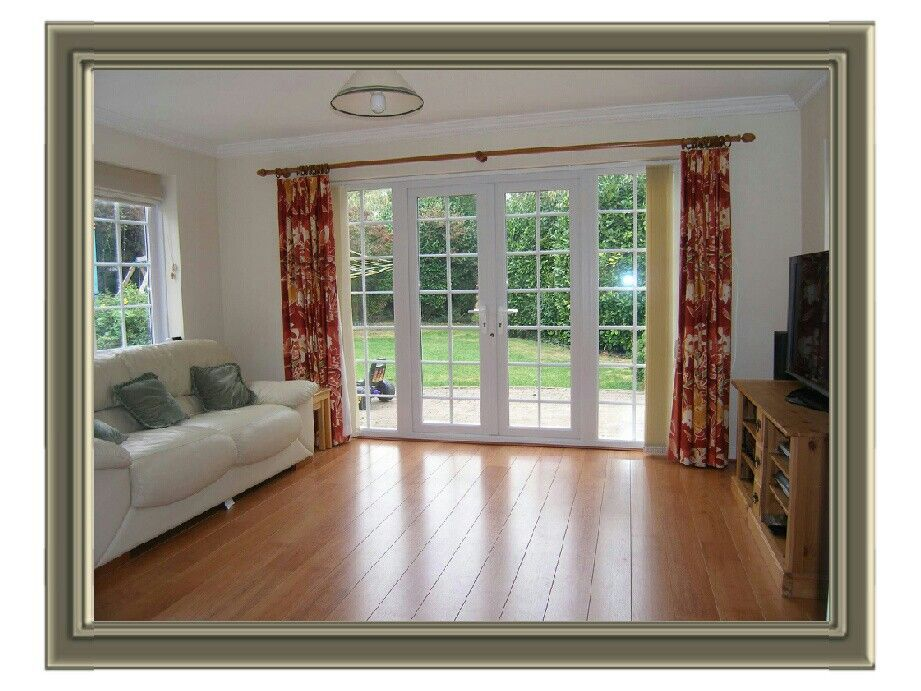 French doors look great against the wood floors