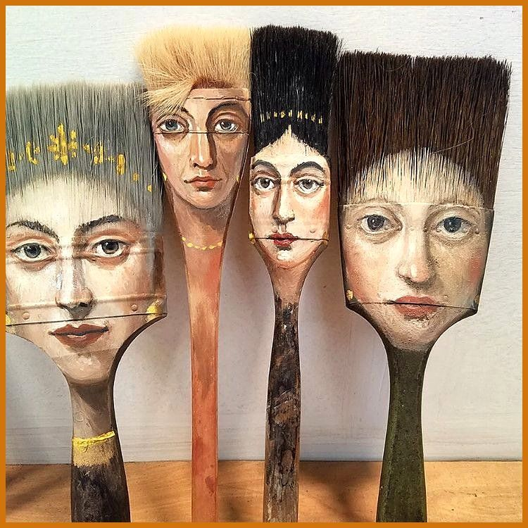 Aussergewohnlich Dieser Surrealistische Kunstler Malt Einzigartige Portrats Aufwarts Abgenutzten Pinseln Und Andere In 2020 Kunstler Malerei Kunstlerbedarf Kunstmalerei