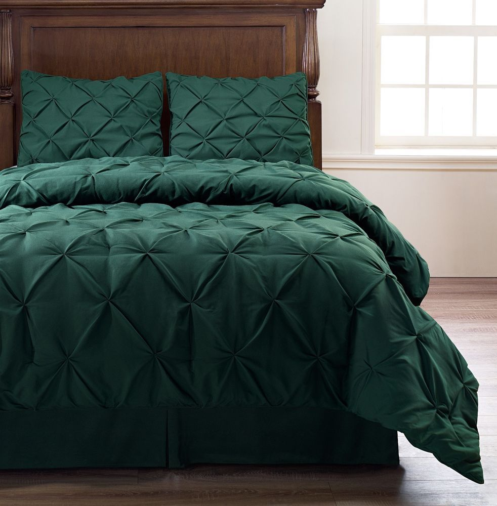 Emerson 4pc Pinched Pleat Comforter Set Dark Green   Full, Queen