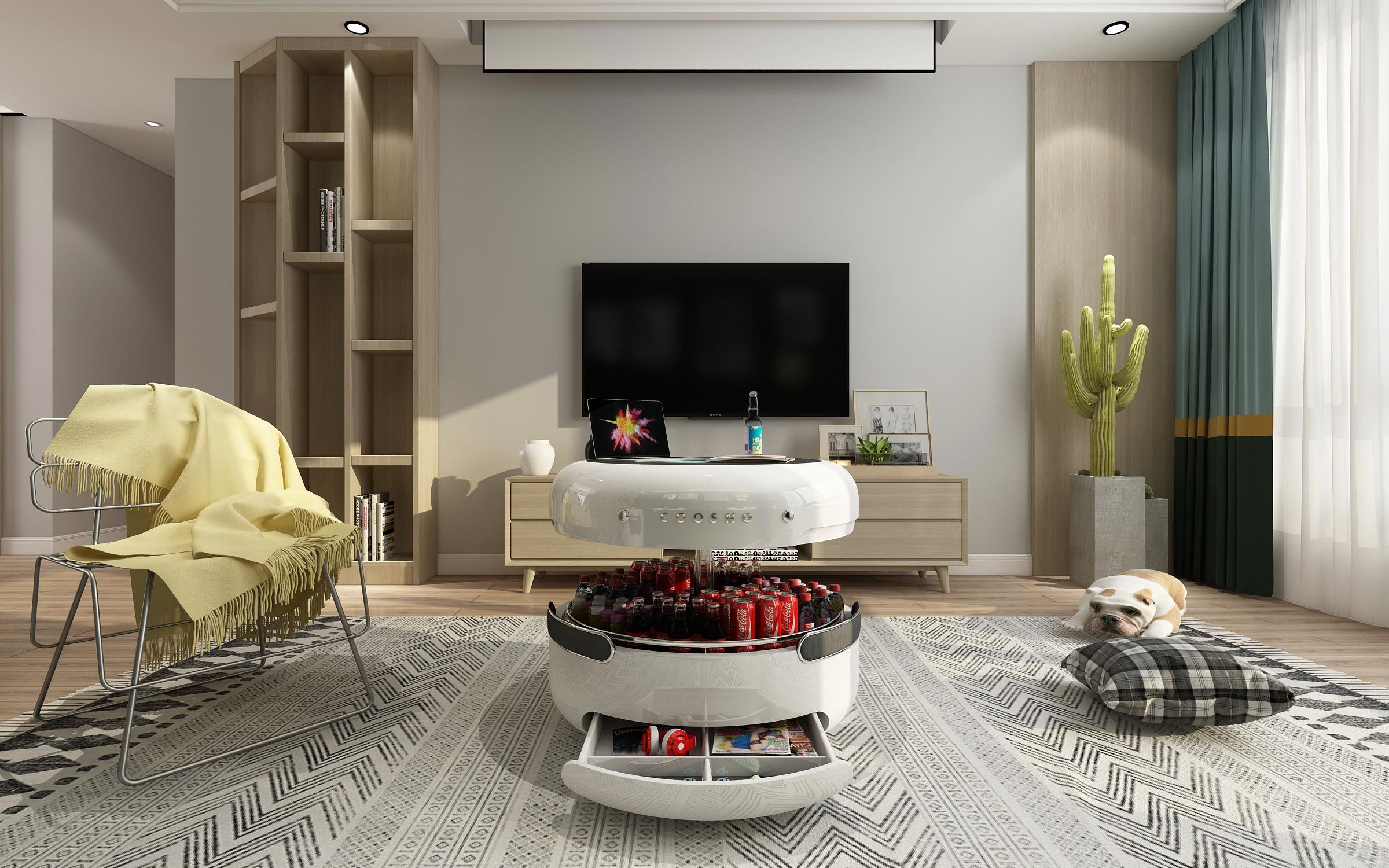 The Coosno Coffee Table Contains A Built In Refrigerator