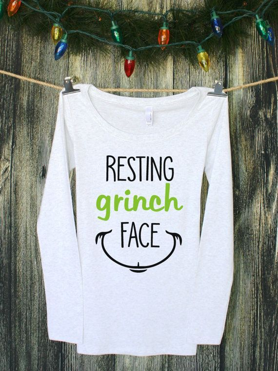 a0806c55 Resting Grinch Face | Graphic Tee | Funny Tshirts | Womens Christmas Shirts  | Christmas Shirts for Women | Funny Christmas Shirts - mens burgundy long  ...