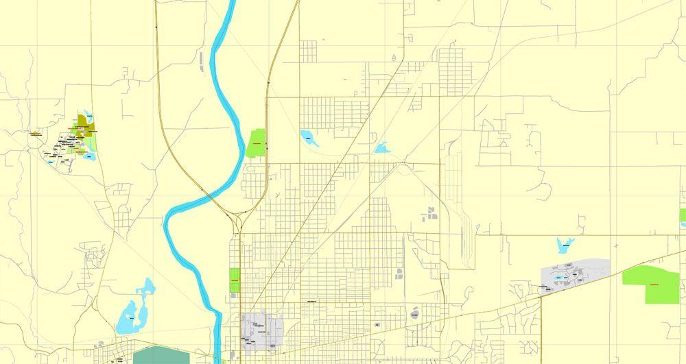 PDF Map of Terre Haute Indiana US printable vector street City