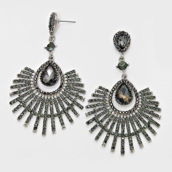 """Teardrop Fan Crystal Evening Earrings • Color : Rhodium, Black Diamond  • Size : 2"""" W, 3 1/4"""" L • Post Back • Teardrop Fan Crystal Rhinestone Evening Earrings Jewelry Earrings"""