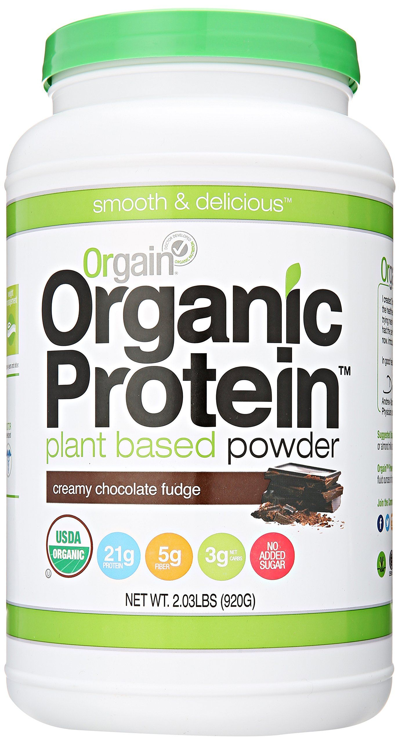 Amazon Com Orgain Organic Protein Plant Based Powder Creamy Chocolate Fudge 2 03 Pound Plant Based Protein Powder Organic Protein Powder Organic Protein