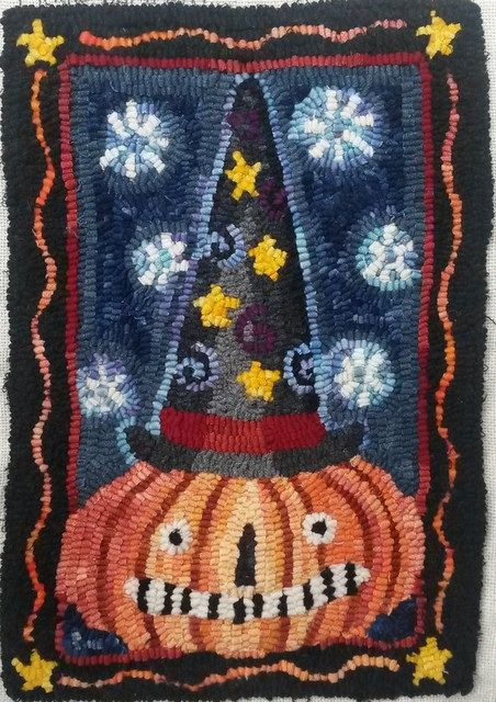 Colorful & whimsical Halloween rug. Etsy listing at https://www.etsy.com/listing/239338139/rug-hooking-pattern-by-waxing-moon