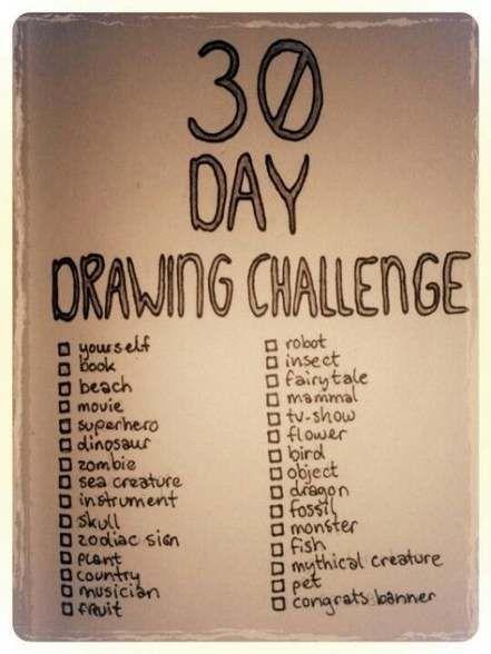 Défi de dessin pour débutants 30 jours 65+ Idées