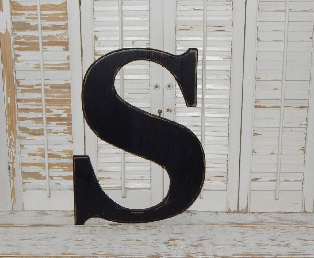 Large Wooden Letter S Or Any Letter Distressed 18 Inch Wood Letters