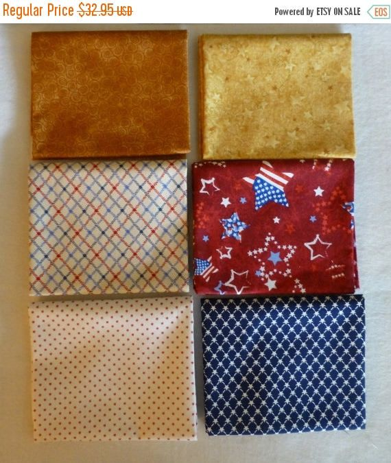 Clearance Cotton Fabric Quilt Home Decor Patriotic Fat Quarter Bundle Of 6 Group 1 Fast Shipping Fq222