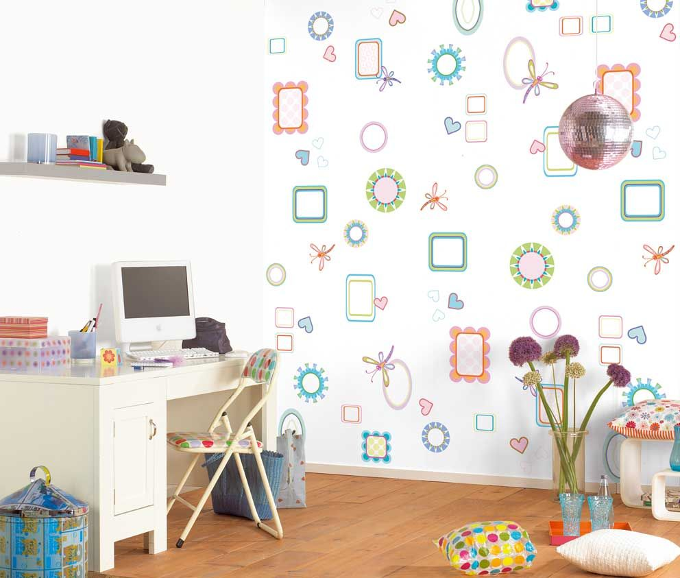 White themed creative kids wall decor ideas with beautiful rectangle