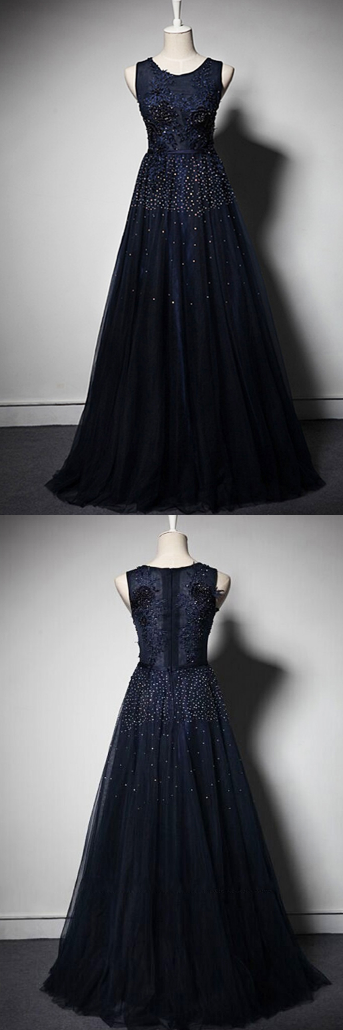Cute navy blue tulle long prom dress for teens evening gowns