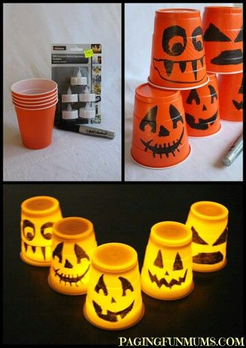 Solo cup glow jackolantern Great crafts Pinterest Craft - fun and easy halloween decorations
