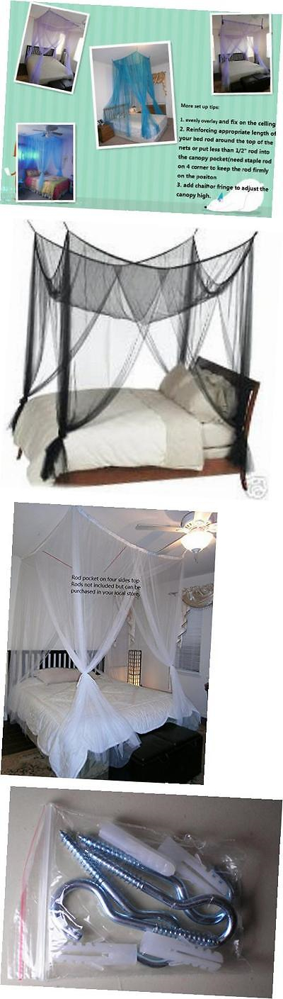 Canopies and Netting 48090 ® 4 Poster Bed Canopy Netting Functional Mosquito Net Full Queen & Canopies and Netting 48090: ® 4 Poster Bed Canopy Netting ...