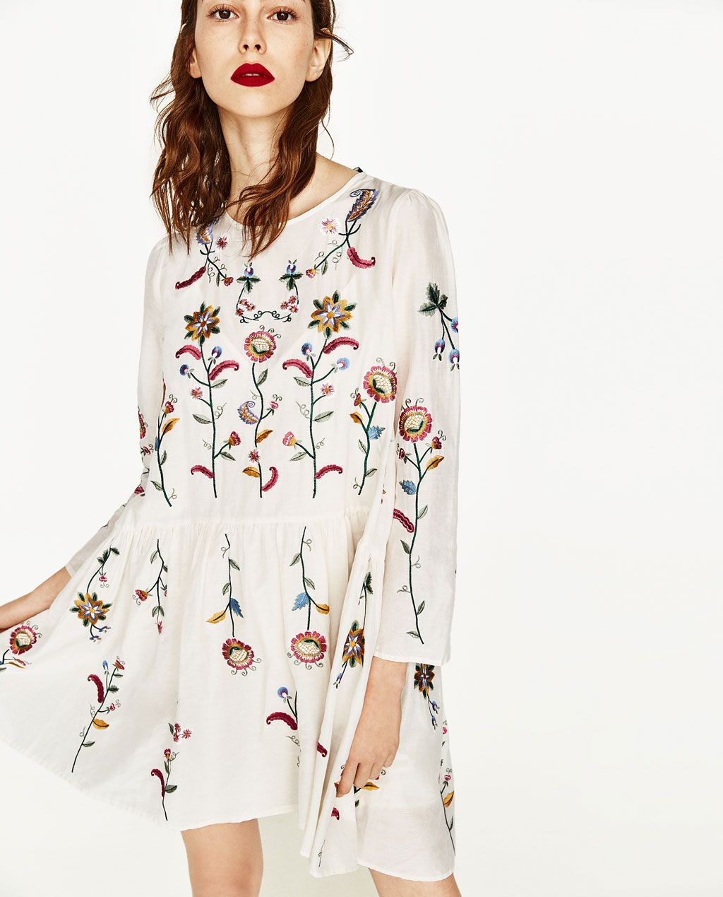 Silk Dress With Flowers Embroidery Dresses Woman Zara United